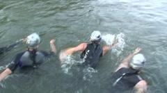 Triathlon Swim start Stock Footage