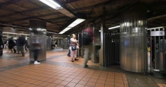 Busy New York City Subway Station Turnstiles Time Lapse - stock footage