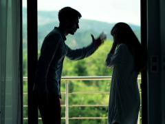 Young couple fighting, arguing on terrace NTSC - stock footage