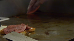 Pork roll on a grill Stock Footage