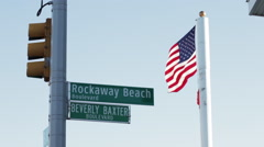 'Rockaway Beach Boulevard' street sign Stock Footage