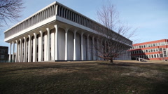 Wide shot Robertson Hall at Princeton Stock Footage