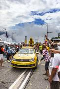 Publicity Caravan on Alpe D'Huez - Tour de France 2013 - stock photo