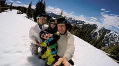 Selfie portrait snow outdoor lifestyle Caucasian family sons travel promotion Stock Footage