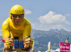 LCL Yellow Cyclist Mascot - Tour de France 2013 Stock Photos