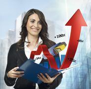 Financial charts notepad Stock Photos