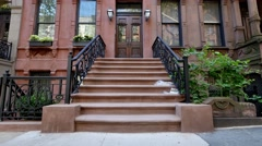 Typical New York Brownstone Establishing Shot - stock footage