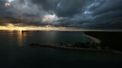 Sunset aerial over an inlet Stock Footage