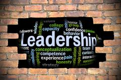 Hole at the brick wall with leadership word cloud inside - stock illustration
