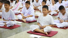 Thai student Meaning meditation. - stock footage