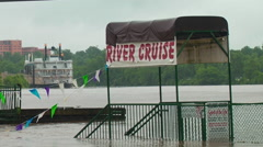 Red River Floods near River Cruise Stock Footage