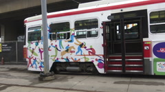 Toronto Streetcar with Pan Am Games Ads Stock Footage