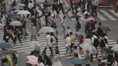 Above view of crowded Shibuya scramble crossing on a rainy day, Tokyo, Japan Stock Footage