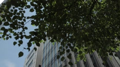 Low angle view of office building area, Tokyo, Japan - stock footage