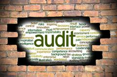 Stock Illustration of Hole at the brick wall with audit word cloud inside