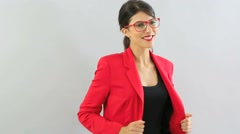 Woman model with red jacket and eyeglasses, isolated - stock footage