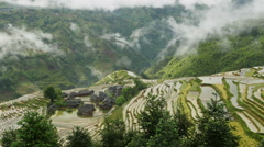 Village and Terraced Rice Field in the Fog Stock Footage