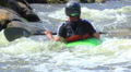 Kayaker  on river have a fan. Rafting team Footage