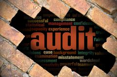 Hole at the brick wall with audit word cloud inside Stock Illustration