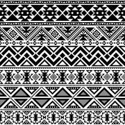 abstract geometric tribal pattern - stock illustration