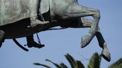Statue of San Martin galloping Stock Footage