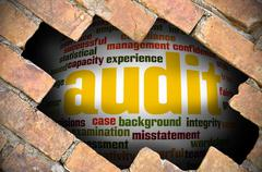 Hole at the brick wall with audit word cloud inside - stock illustration