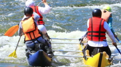 Rafting on  river with  rowing people. Rafting team, 50 %slow speed Stock Footage