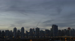 Vancouver - Twilight Skyline - Pan - 30P - ProRes 4:2:2 10 Bit - UHD 4K Stock Footage
