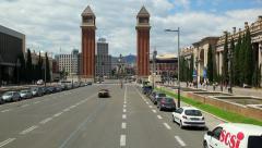 Placa De Espanya in Barcelona, Spain Arkistovideo