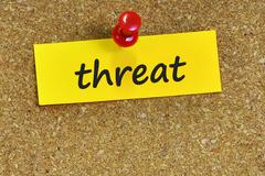 Threat  word on notes paper with cork background Stock Photos