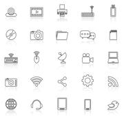 Hi-tech line icons with reflect on white - stock illustration