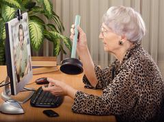 Plumbing expert advising online Stock Photos