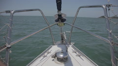 Bow of the boat cutting through the sea Stock Footage