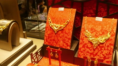 Window Display of Chinese Gold Jewellery - stock footage