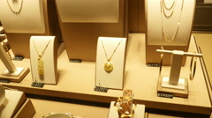 Window Display of Gold Jewellery Stock Footage
