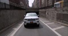 Exiting the Park Avenue Tunnel in Manhattan near Grand Central Terminal Stock Footage