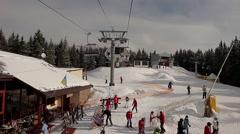 Ski resort in the Carpathians. Sunny day. - stock footage