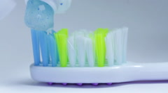 Hand Putting Toothpaste On Toothbrush, Oral Hygiene, Healthy Teeth, Macro Shot Stock Footage