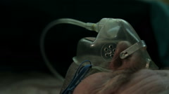 Patient breathing during surgical operation. Mask for oxygen supply close up. Stock Footage