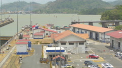 The buildings and docks of Miraflores Locks in Panama Stock Footage