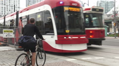 Streetcar in downtown Toronto Stock Footage