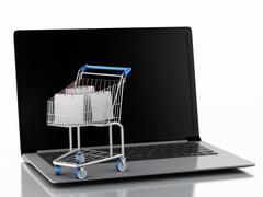 3d Shopping cart on Laptop. e-commerce  concept Piirros