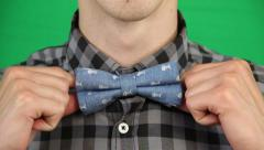 Close up of Male Straightening Bow Tie Stock Footage