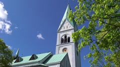 Bell tower of the Church of Queen Luisa Stock Footage