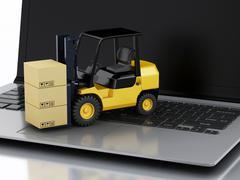 Laptop with Forklift truck. Delivering packages - stock illustration