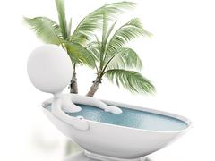 3d white person relaxing in a bath - stock illustration