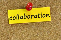 collaboration  word on notes paper with cork background - stock photo