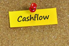 Cashflow  word on notes paper with cork background Stock Photos