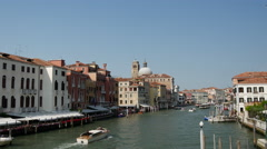 View from the Ponte degli Scalzi of boats at the canal grande in Venice Italy Stock Footage