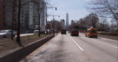 Driving downtown on the West Side Highway towards One World Trade Center Stock Footage